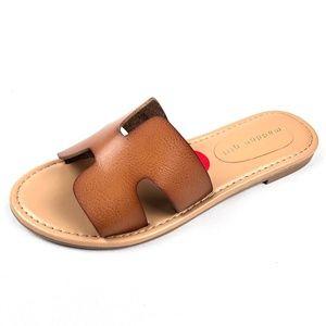 NEW Madden Girl Fairview Cognac Brown Slide Sandal